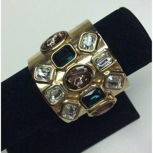 Women Cuff Bracelet Large Jeweled Rhinestone Gold